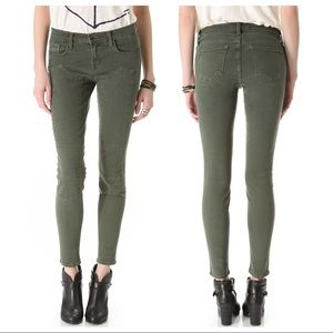 J Brand Roz Moto Skinny Jeans Textured Army Green